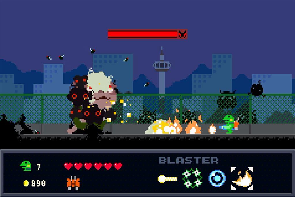 ケロブラスター ステージ7ボス攻略 社長の第1形態は火炎放射で守りつつレーザーで攻める
