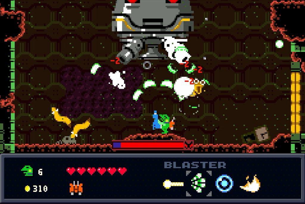 ケロブラスター ステージ6攻略 中ボスは下に潜り込んで撃つべし