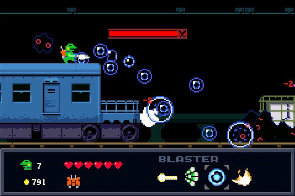 ケロブラスター ステージ6ボス攻略 まずは電車の上からバブルを撃つ