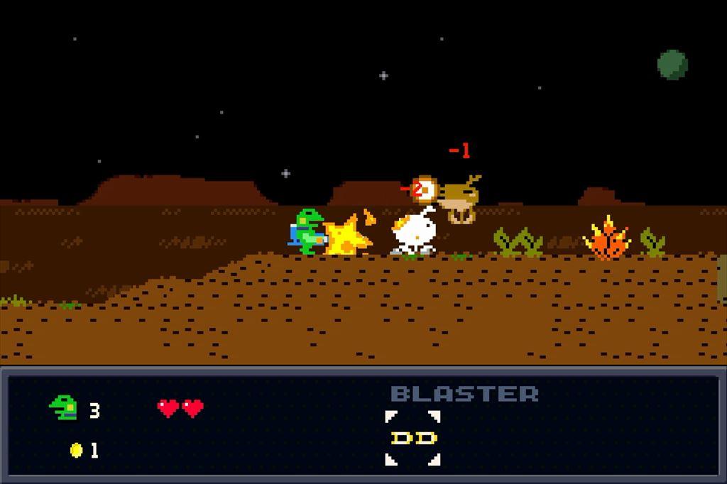ケロブラスター ステージ1攻略 敵の弾は相殺できる