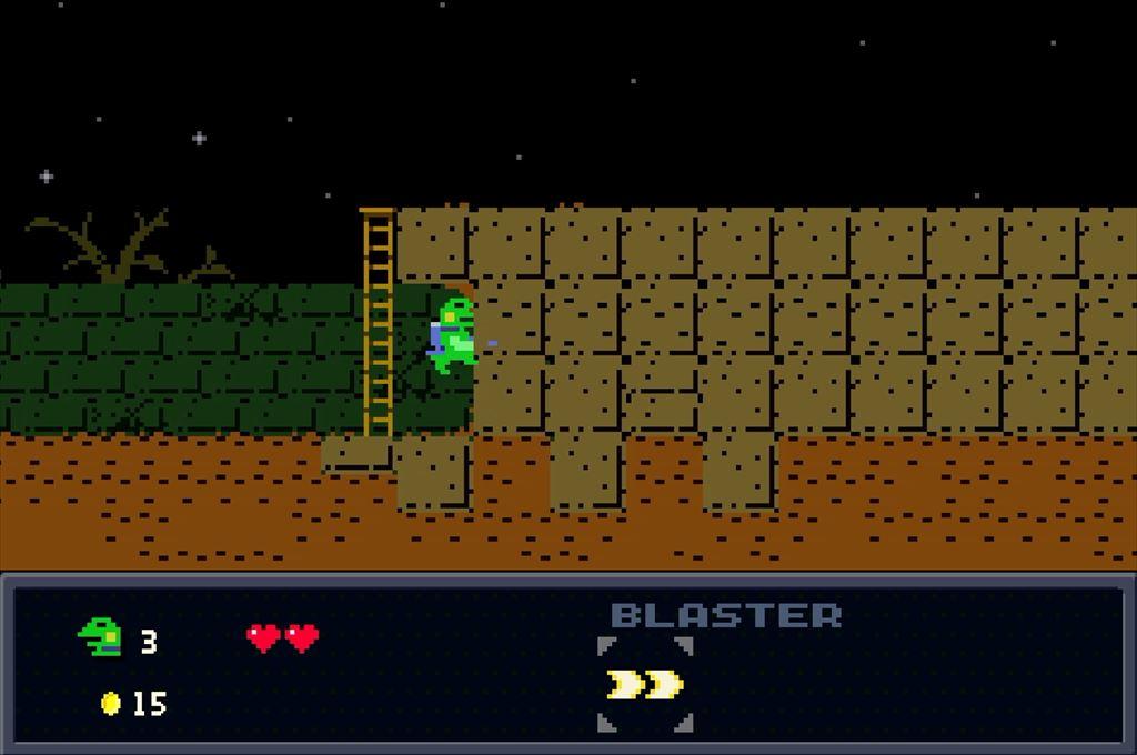ケロブラスター ステージ1攻略 隠し通路の先に宝箱