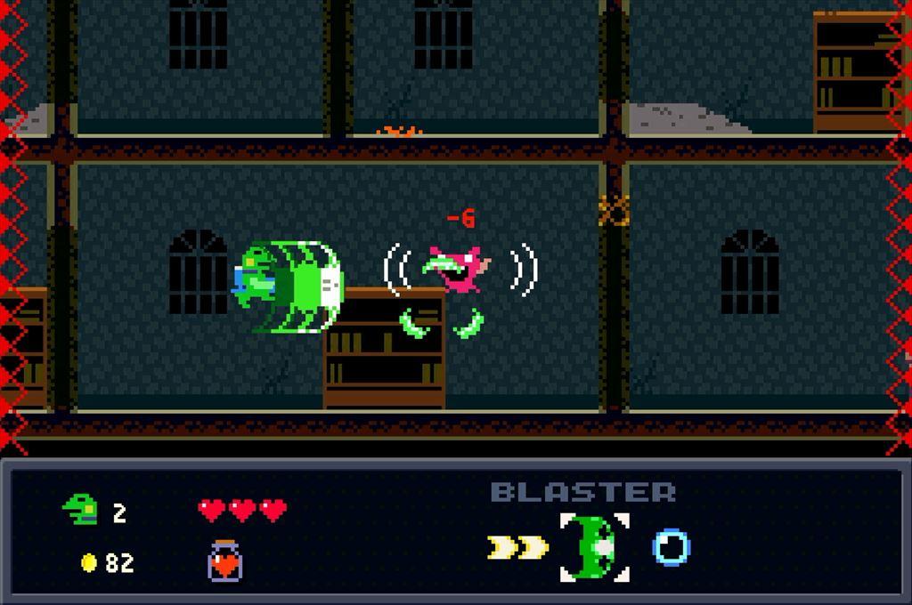 ケロブラスター ステージ3攻略 赤いコウモリに注意