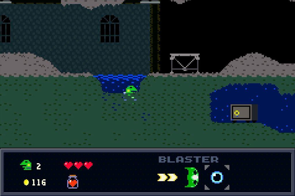 ケロブラスター ステージ3攻略 水中の宝箱は隠し通路から