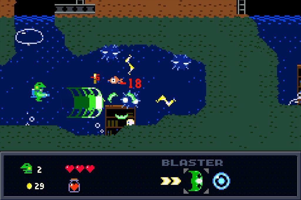 ケロブラスター ステージ3攻略 水中戦はワイドショットが有効