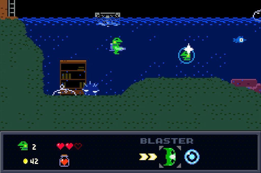 ケロブラスター ステージ3攻略 水中の1UPアイテムを逃さないように