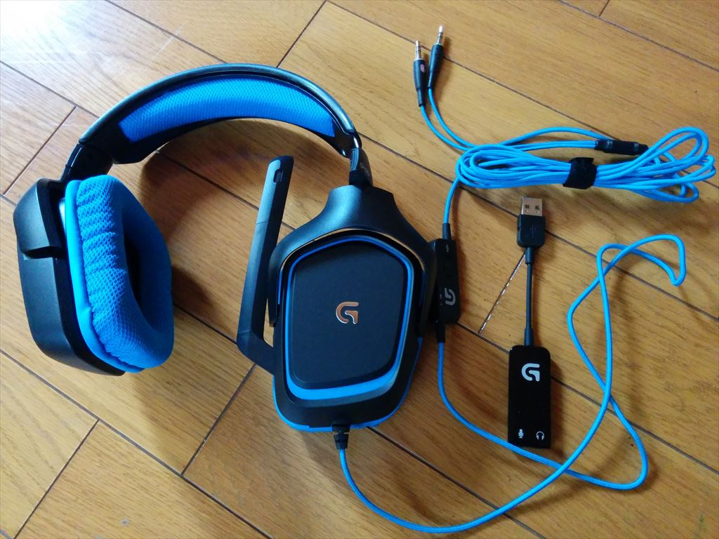 logicool Gaming headset G430 本体と付属品