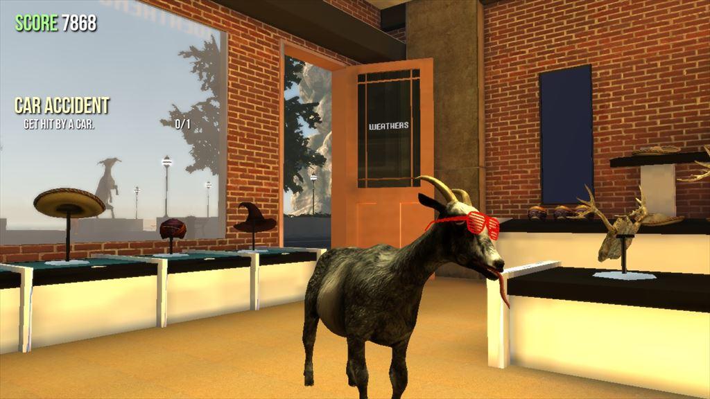 Goat Simulator 1.1 帽子とサングラスでキメるヤギ