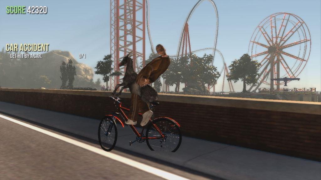 Goat Simulator 1.1 自転車に乗るヤギに乗る人間の図