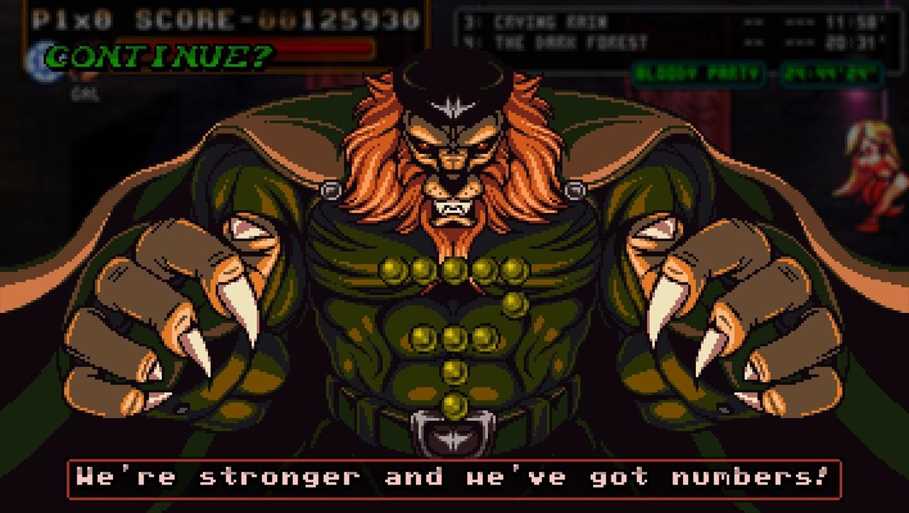 Fight'N Rage アーケードスタイルのコンティニュー画面